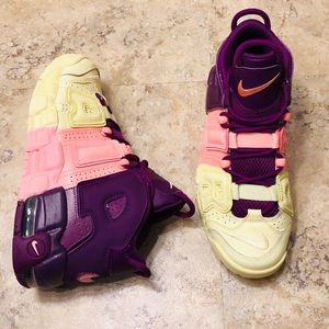 Nike Air Uptempo Citron Pink Kids 6Y Women Size 8